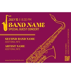 Jazz music concert saxophone vertical music flyer vector