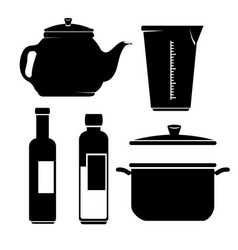 kitchen utensils icon set vector image