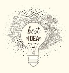 Light bulb made of handdrawn doodles creative vector