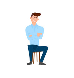 man is sitting on a chair flat style vector image