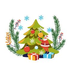 merry christmas winter holiday santa claus vector image