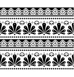 mexican seamless black and white pattern vector image