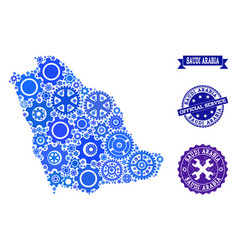 Mosaic map of saudi arabia with gear wheels and vector