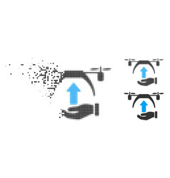 Moving dotted halftone drone takeoff icon vector