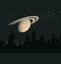 night landscape with planet saturn vector image
