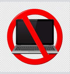not use laptop sign isolated on transparent vector image