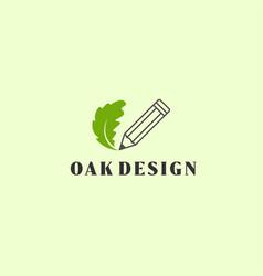 Oak design leaf pen element nature art icon vector