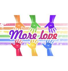 open hands rainbow color concept vector image