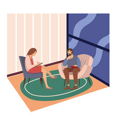 patients at a reception at psychotherapies vector image