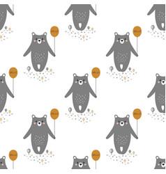 pattern with cartoon bear vector image