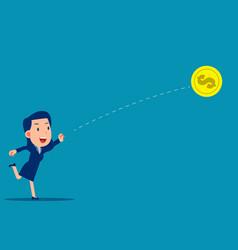 person throwing dollar coin forward financial vector image