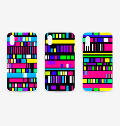 Phone case set glitch pattern background signal vector