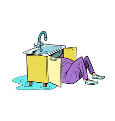 Plumber to repair kitchen sink vector