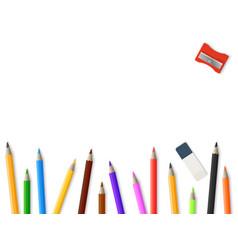 realistic pencils pencil sharpener eraser vector image