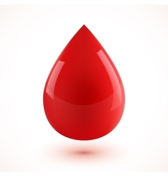 Red glossy realistic 3D blood drop vector image