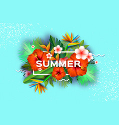 Red hibiscus flower tropical summer palm leaves vector