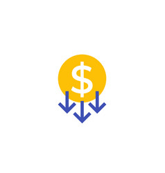 Reduce costs price reduction flat icon vector