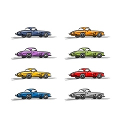 Retro sport cars sketch for your design vector