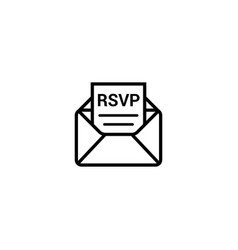 rsvp icon envelope date stamp invitation vector image