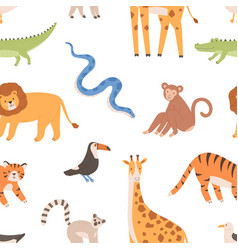 seamless pattern with african wild tropical vector image