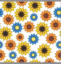 Seamless pattern with cartoon colored flowers vector
