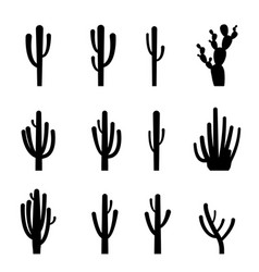 Set of cactus in black silhouette style vector
