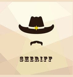 sheriff face icon isolated on multicolor backgroun vector image