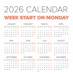 simple 2026 year calendar vector image