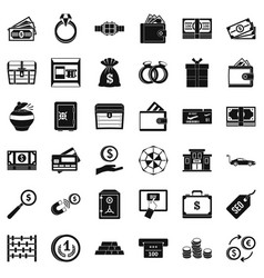 Sum of money icons set simple style vector