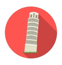 Tower of Pisa in Italy icon in flat style isolated vector image