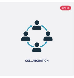 Two color collaboration icon from strategy vector