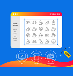 users line icons profile group and support vector image