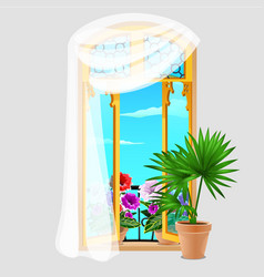 vintage wooden window with curtains and potted vector image