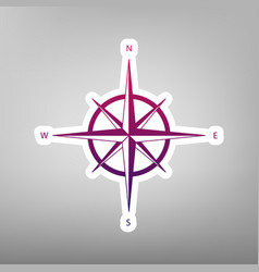wind rose sign purple gradient icon on vector image
