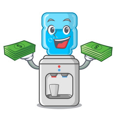 With money water cooler with plastic bottle vector