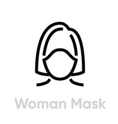 Woman protection mask respirator icon editable vector