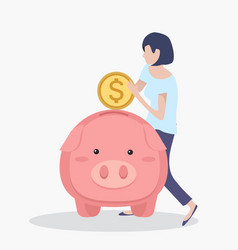 woman putting coin piggybank vector image