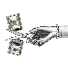 Womans hand with scissors cutting a 100 dollar vector
