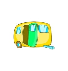 Yelllow camping trailer icon cartoon style vector