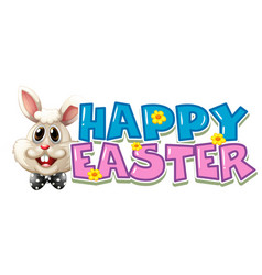 happy easter poster with white bunny vector image vector image