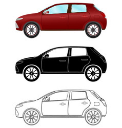 modern hatchback car in three different types vector image vector image