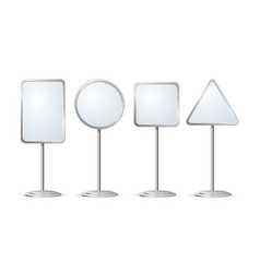 Realistic template blank white outdoor holder vector