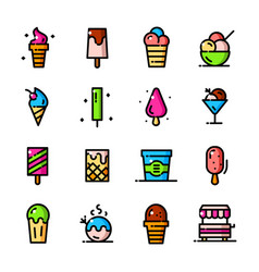 thin line ice cream icons set vector image