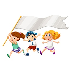 Three kids running with an empty banner vector image