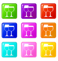 two glasses of wine icons 9 set vector image