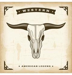 Vintage Western Bull Skull vector image vector image