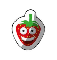 color kawaii fruits strawberry happy icon vector image vector image