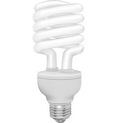 Energy saving fluorescent light bulb on white vector image
