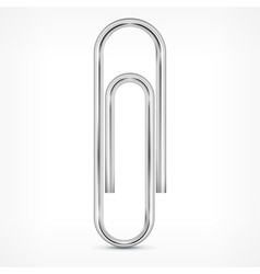 Metallic paperclip on white vector image vector image