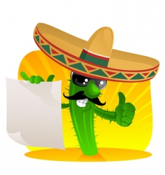 mexican cactus with scroll vector image vector image